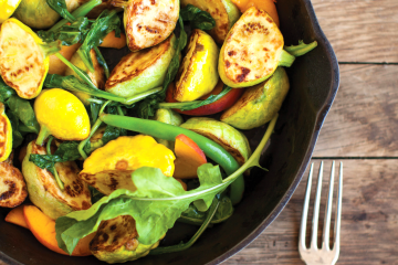 Colorful pattypan squash salad also uses peaches and green beans for a deliciously different side or main dish.