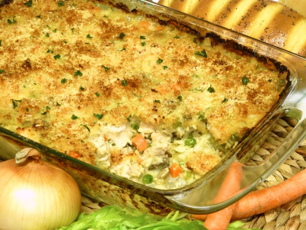 Feed a crowd with this satisfying chicken mushroom rice casserole.