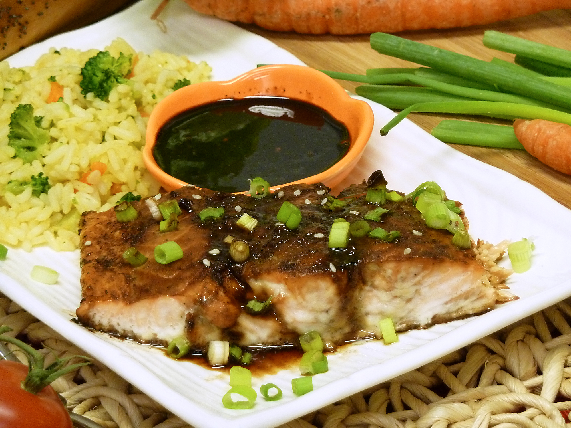 teriyaki glazed salmon recipe, fish, ginger, soy sauce, receipts