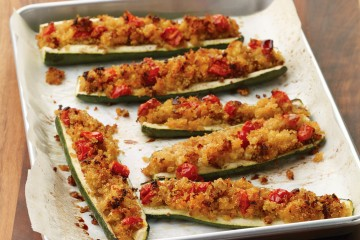 Crunchy quinoa stuffed zucchini boats make a diabetic-friendly side dish or main meal.