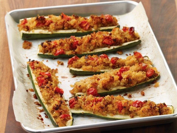 Crunchy quinoa stuffed zucchini boats make a diabetic-friendly side dish or main meal.