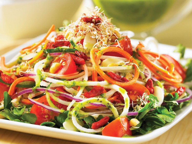 Enjoy the kaleidoscope of colors in this healthy paleo vegetarian salad.