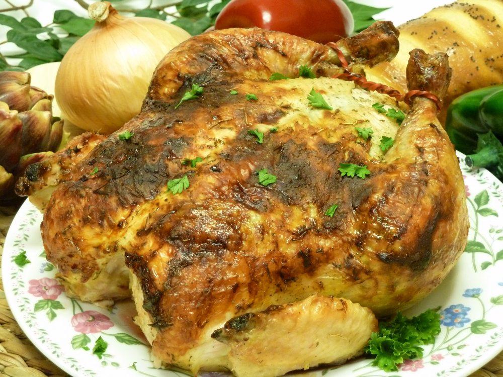 Herbed yogurt under the skin ensures a deliciously moist roast chicken. Ranch herb roast chicken.