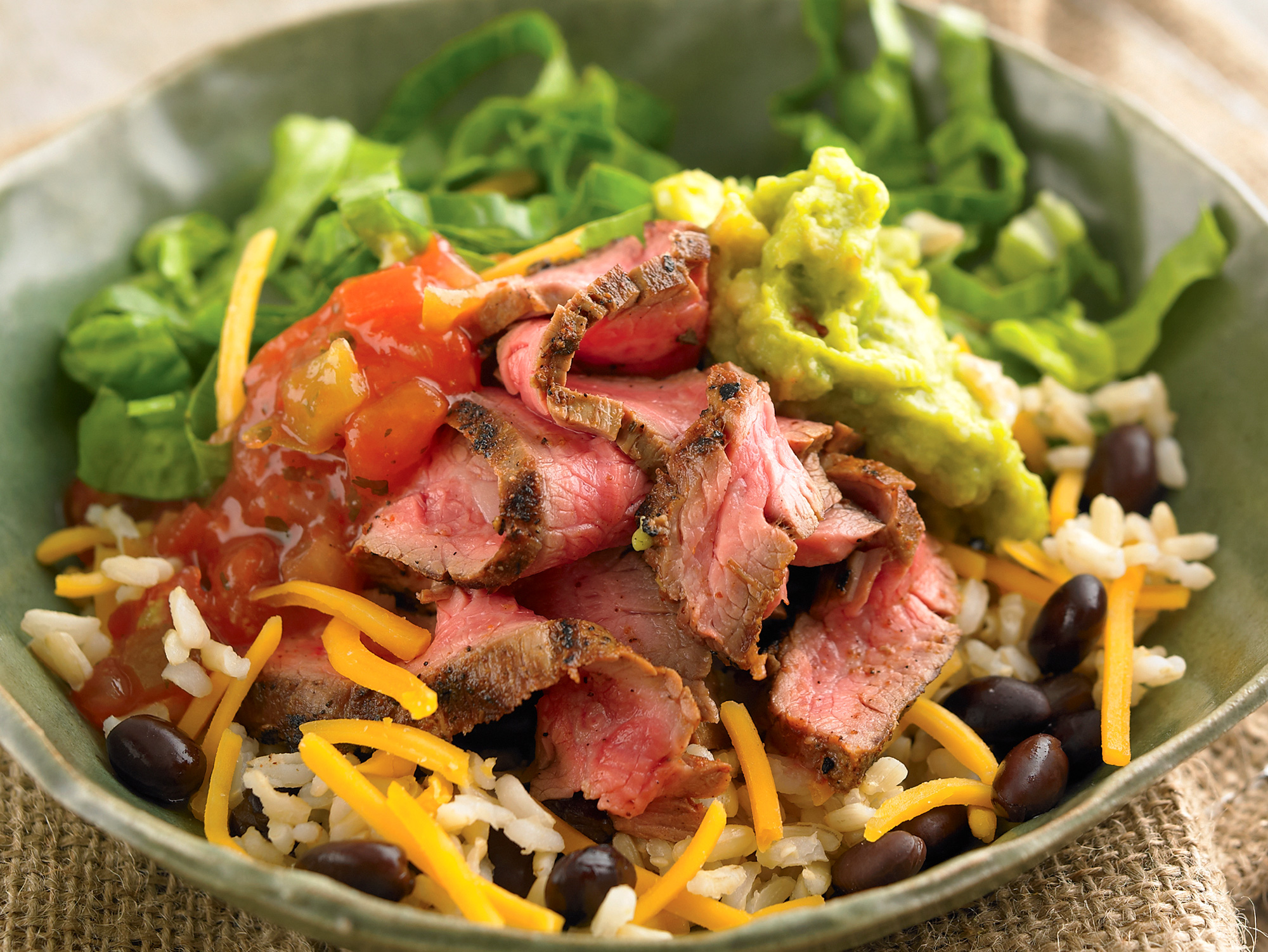 Diabetic-friendly steak burrito bowl is yummy enough for the whole family to enjoy.
