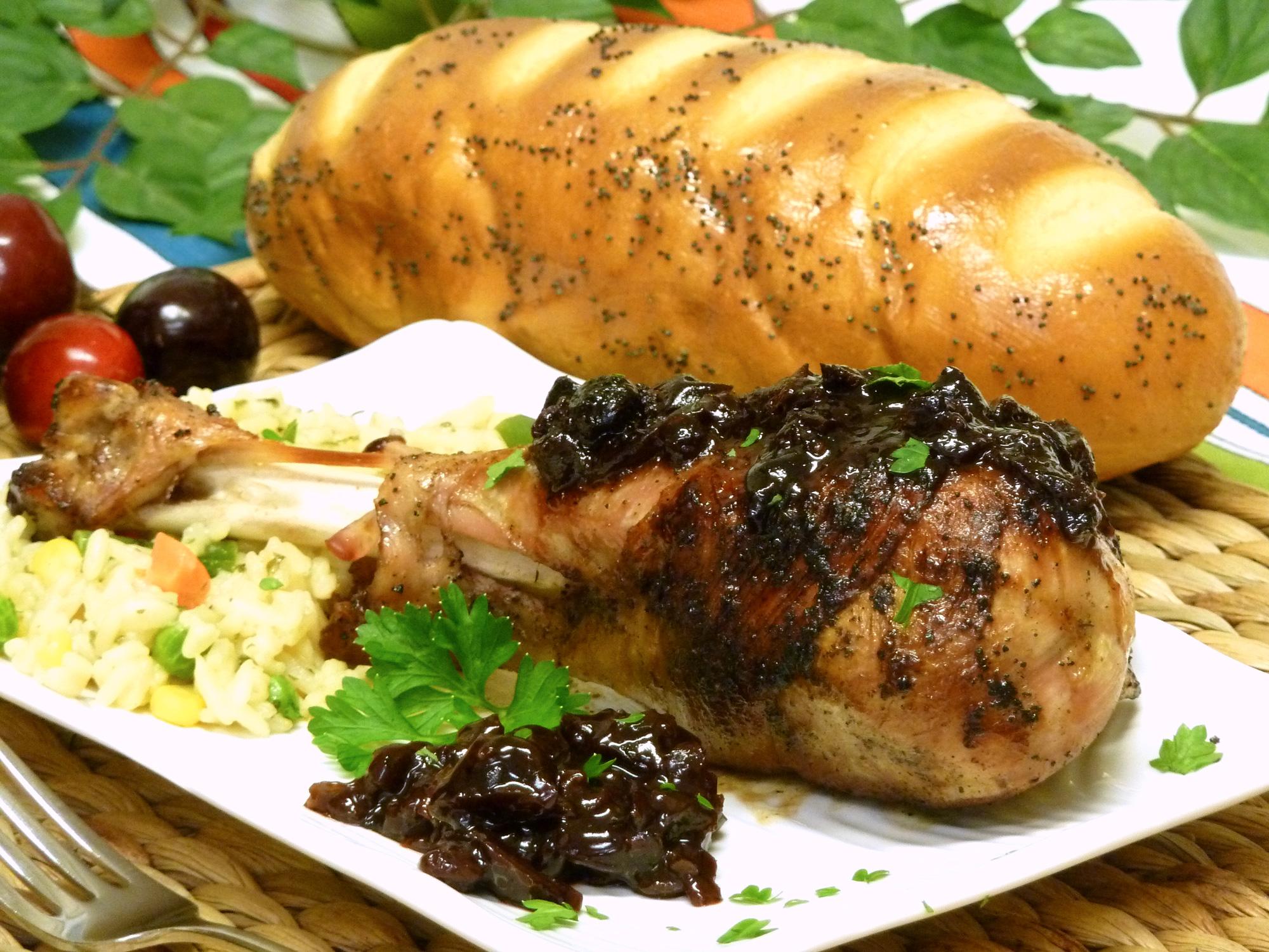 Succulent turkey legs coated with savory cherry glaze.
