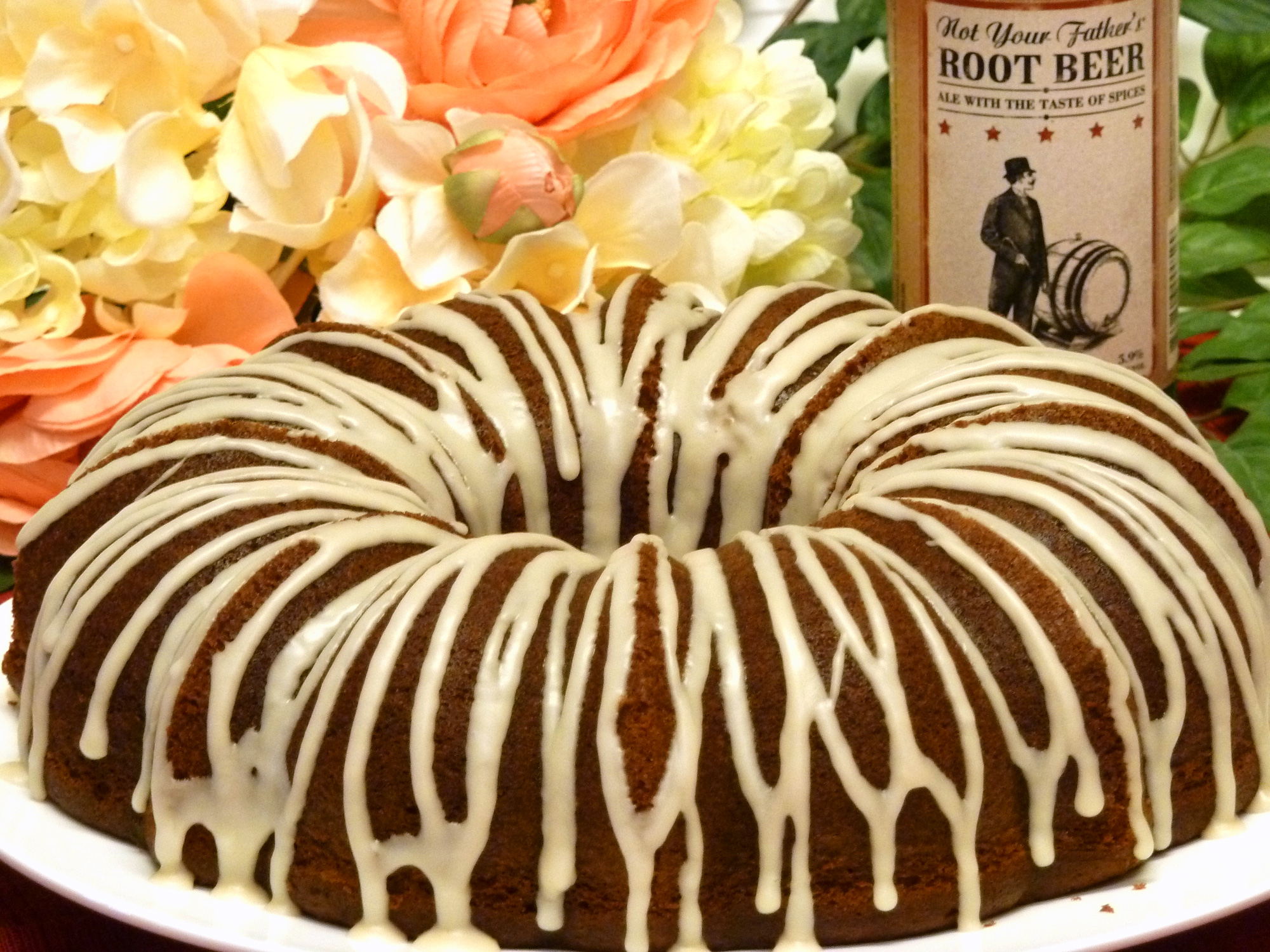 Root beer cake has a delicious eye-appealing glaze.