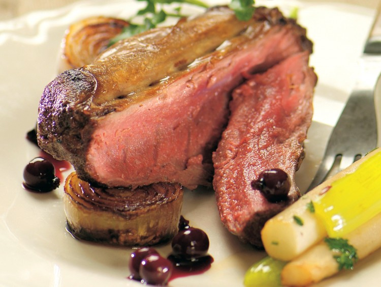 Blackcurrant wine marinade tenderizes and flavors while hare (rabbit).