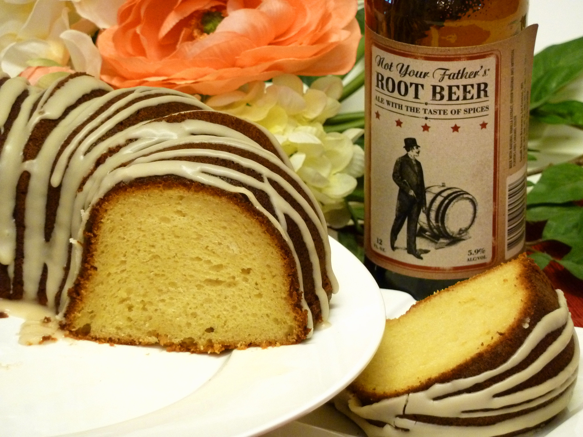 Deliciously moist root beer cake is made with real beer.