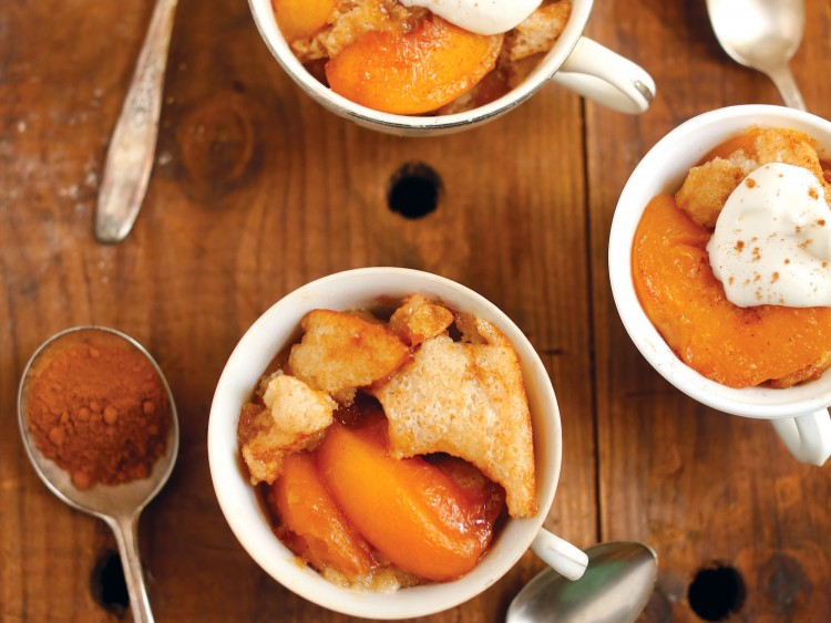 Peaches flavored with sweet tea put a new spin on peach cobbler.