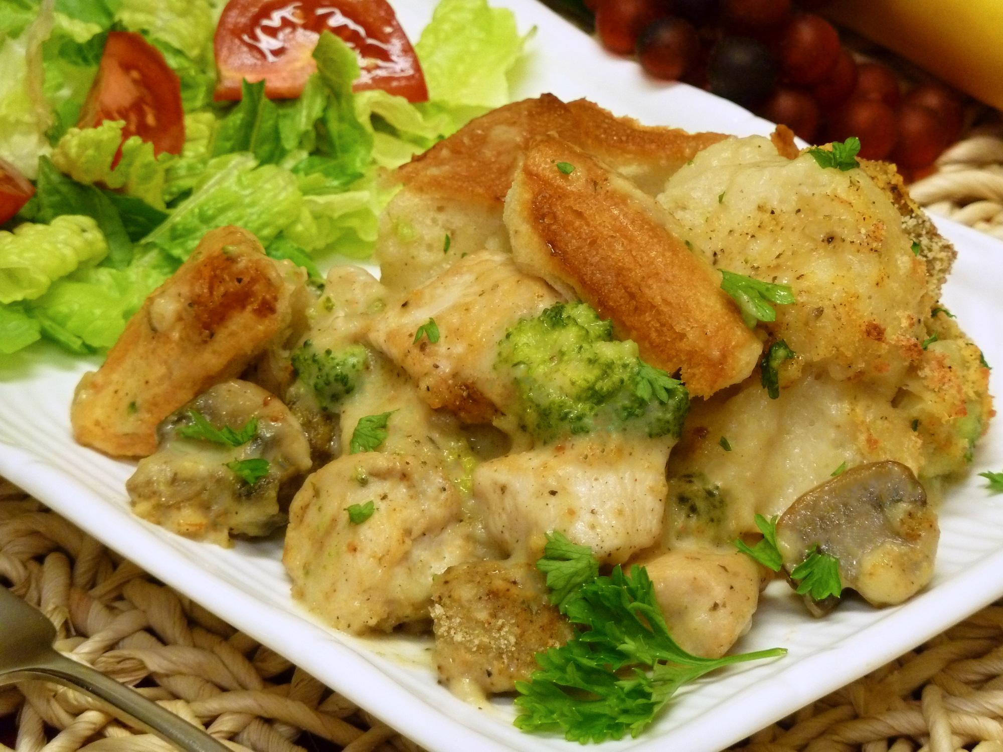 Try this delicious combination of alfredo chicken and chicken & dumplings in a casserole form.
