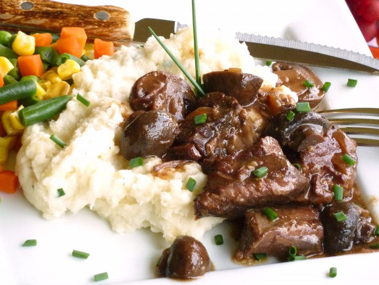 Tender, moist beef tips with luscious mushroom gravy are a snap in the crockpot.
