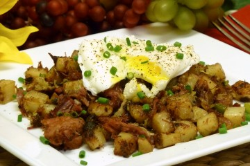Hearty corned beef hash with potatoes and cabbage.