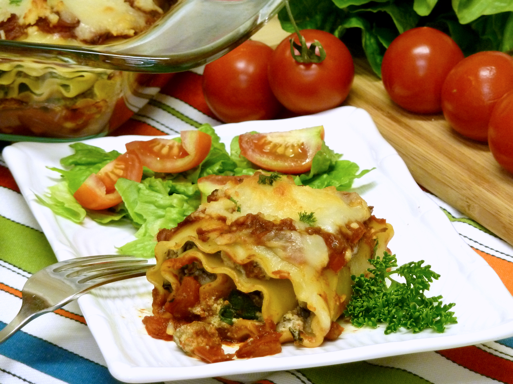 Lasagna rolls are easy to make and will feed a crowd.