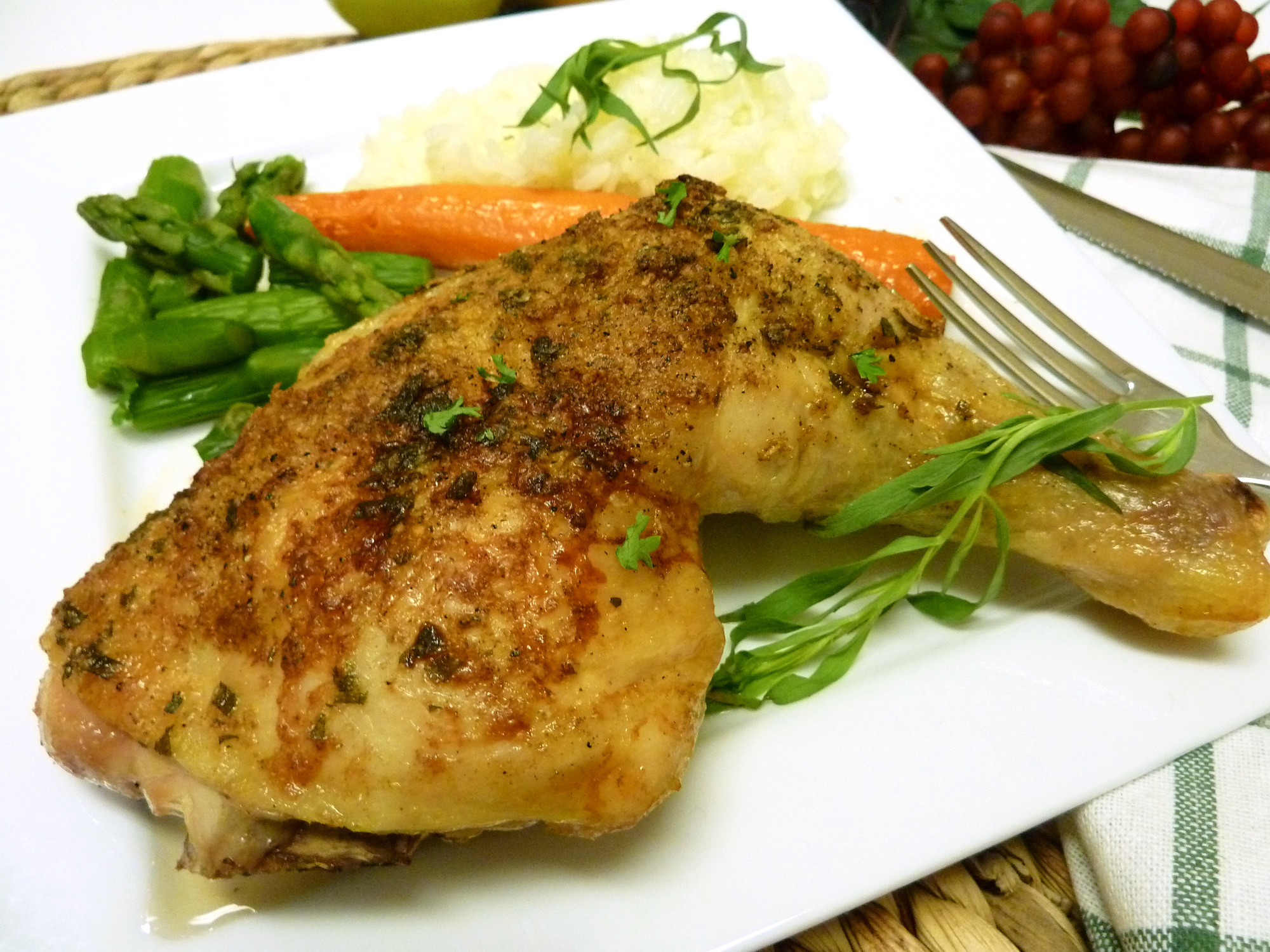 Leg portion from whole baked spatchcocked chicken tarragon.