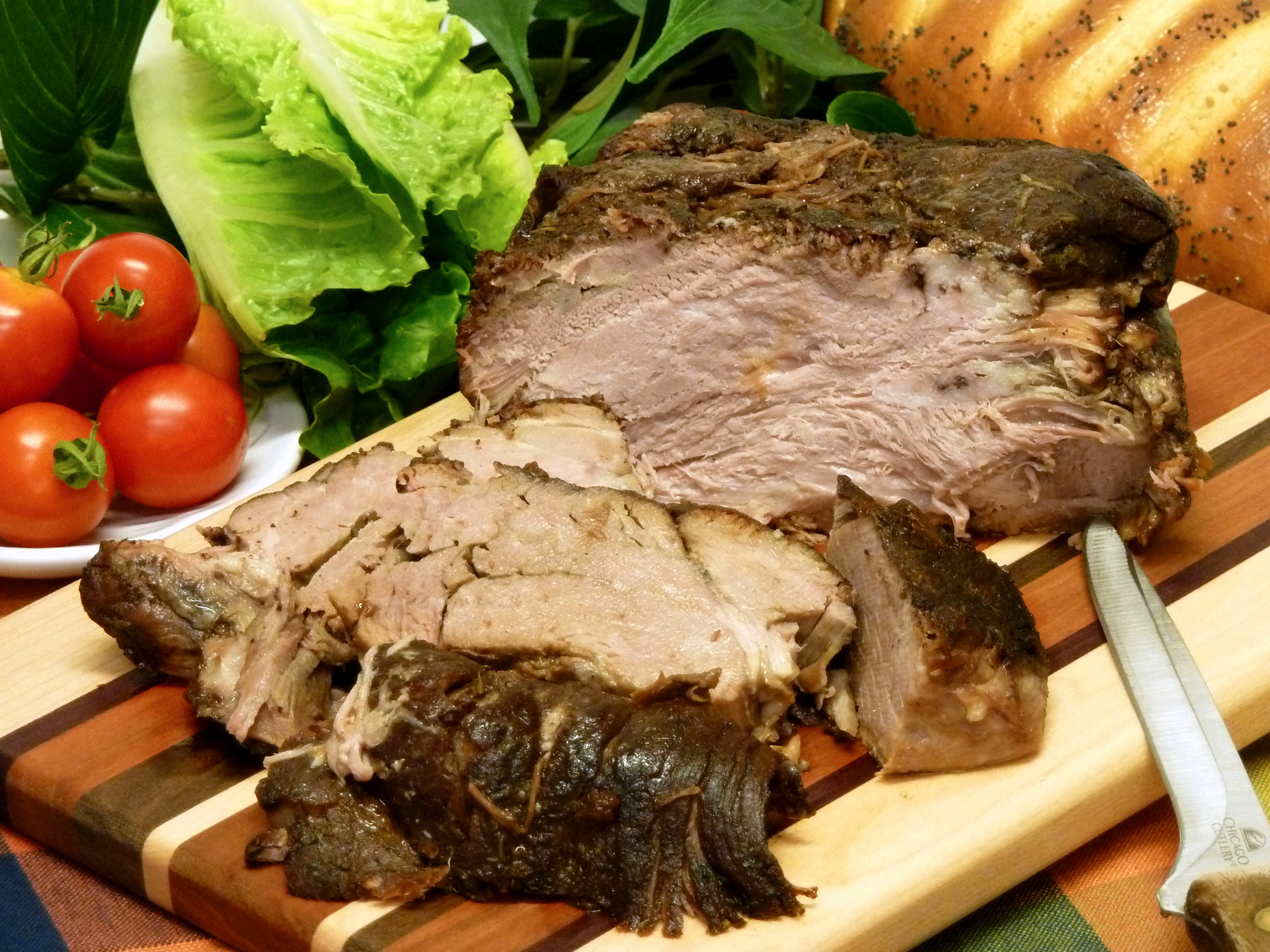 Tender, juicy pork roast incorporates the flavors of the islands.