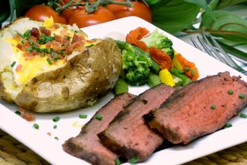 London broil steak is marinated in a simple mixture, then grilled to juicy perfection.