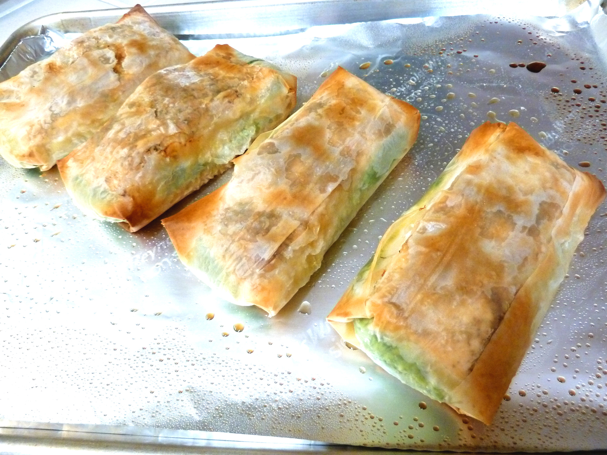 Salmon in phyllo, golden brown and fresh from the oven.