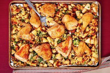 Apples and cranberries perk up this easy chicken and stuffing dish made in a sheet pan.