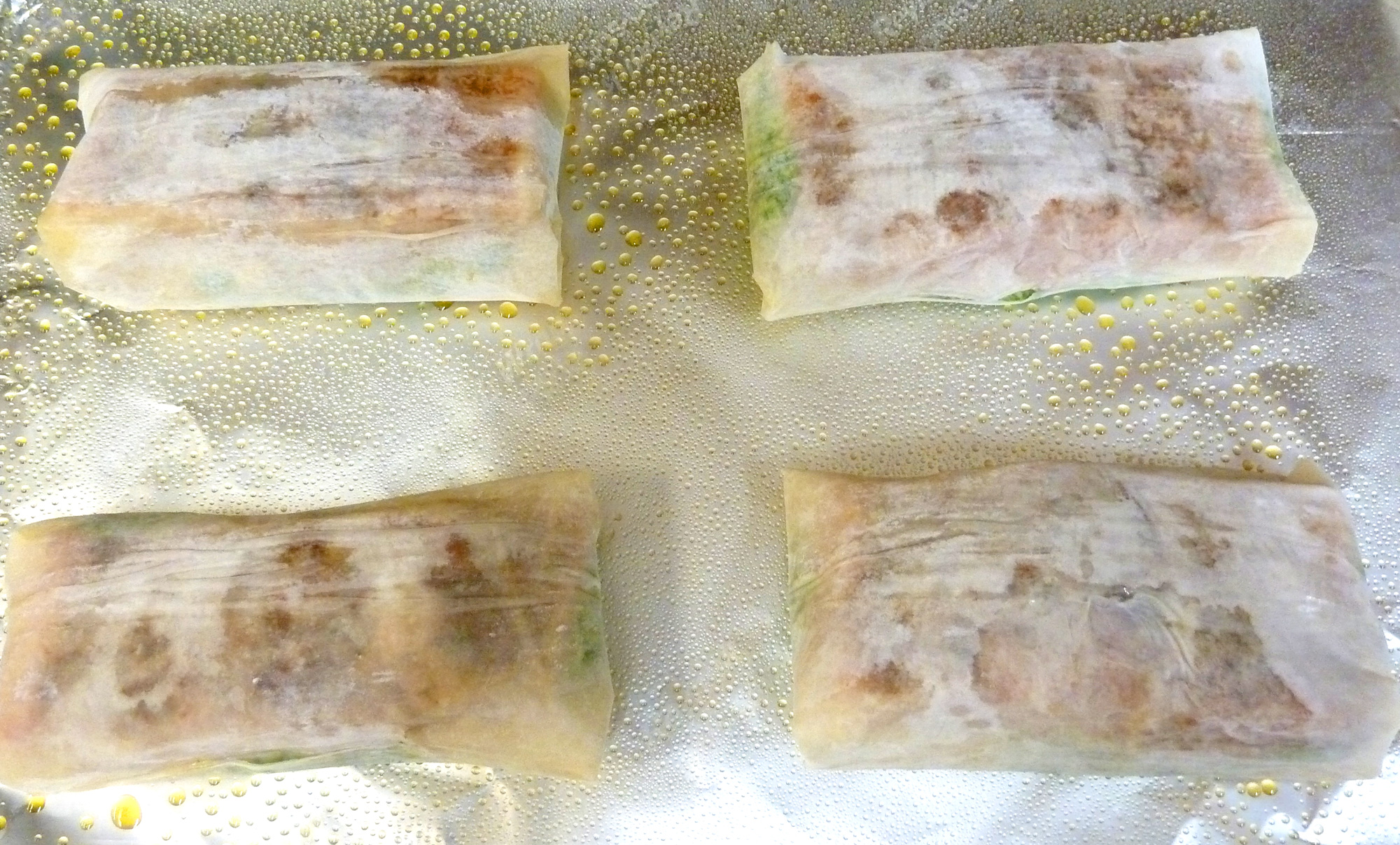 Phyllo-wrapped stuffed salmon ready for the oven.