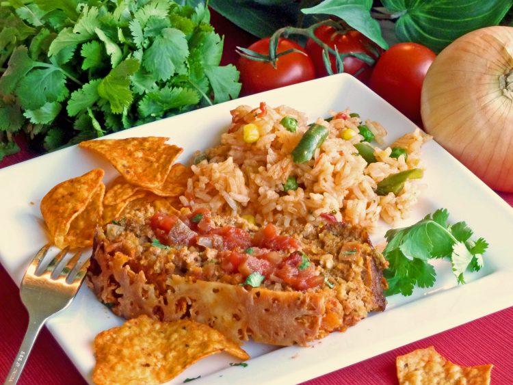 Loco turkey meatloaf gets spicy flavor from popular Doritos nacho tortilla chips.