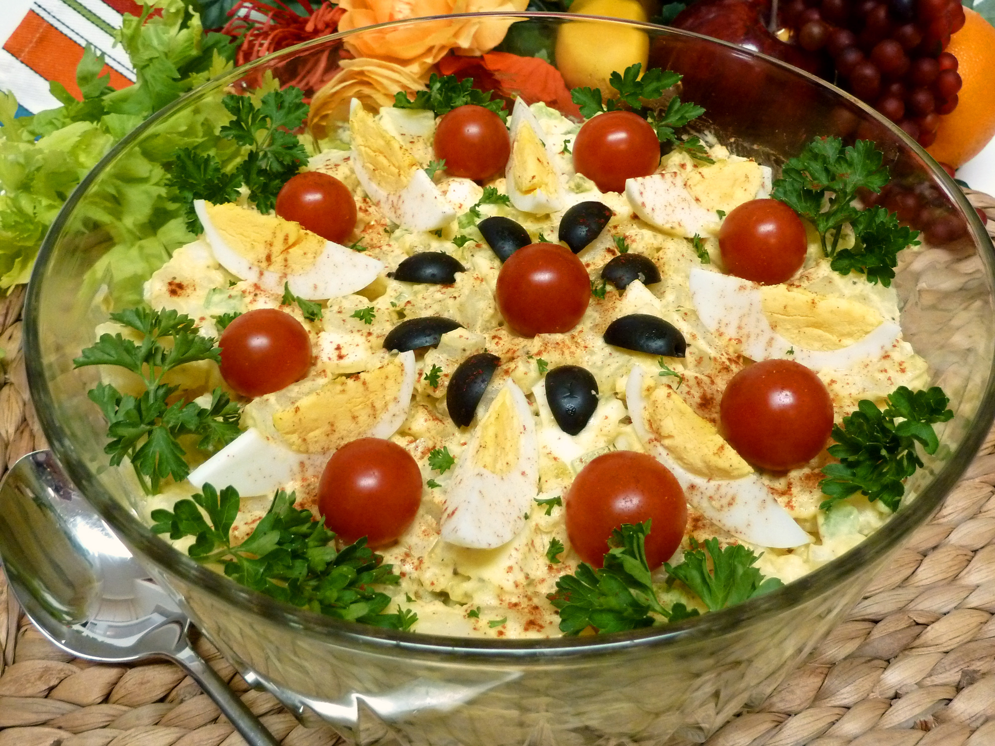 Feast your eyes on this decorated bowl of scrumptious mustard potato salad.