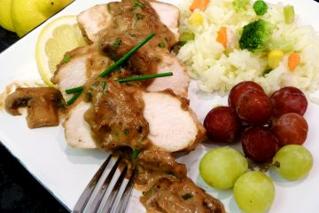 Tender, moist chicken with succulent mushroom gravy.