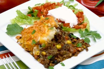 Fiesta Cottage Pie puts all of your South of the border favorite ingredients into a luscious casserole.