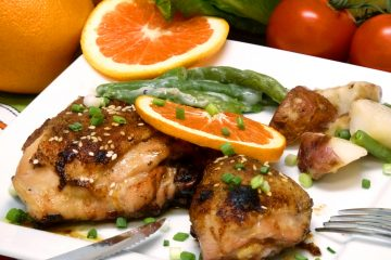 Honey orange glaze perks up boring chicken legs and thighs.