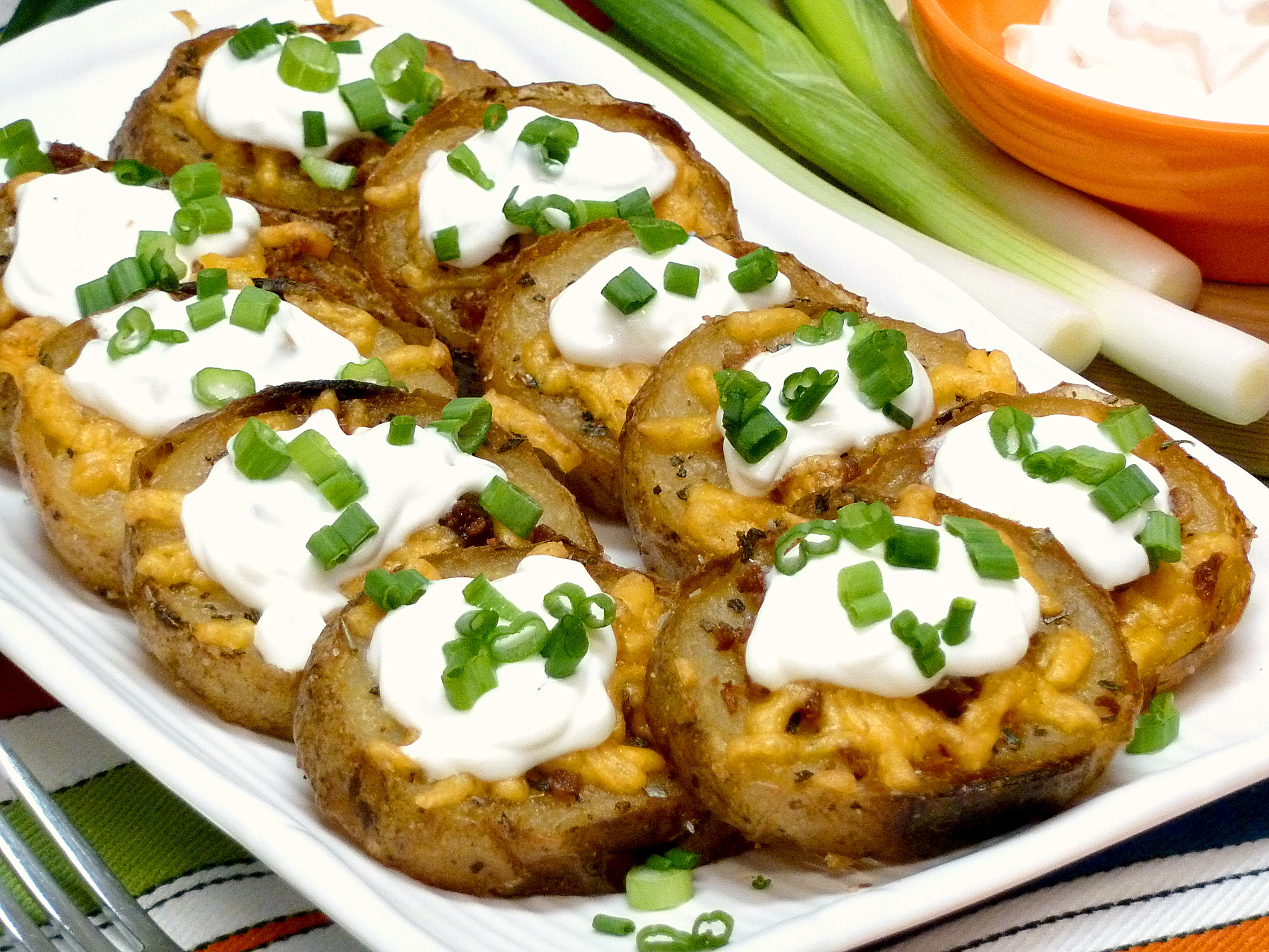 Crispy baked potato slabs are loaded with all of your favorite potato skin flavors.
