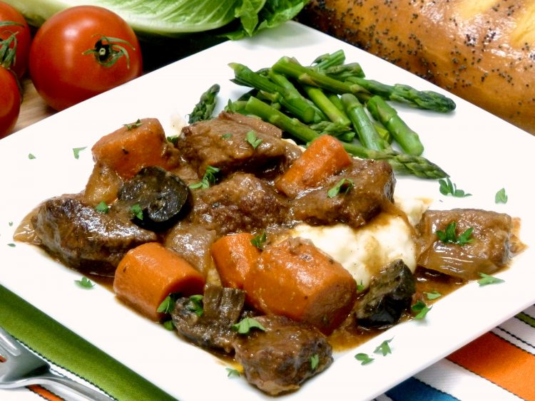 Guinness stout beer and portobello mushrooms enhance the rich gravy of beef stew.