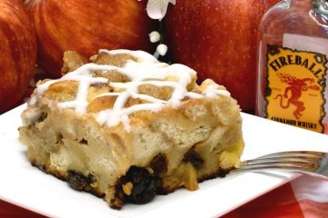 Fireball cinnamon whiskey goes great with apples and raisins to level up old-fashioned bread pudding.