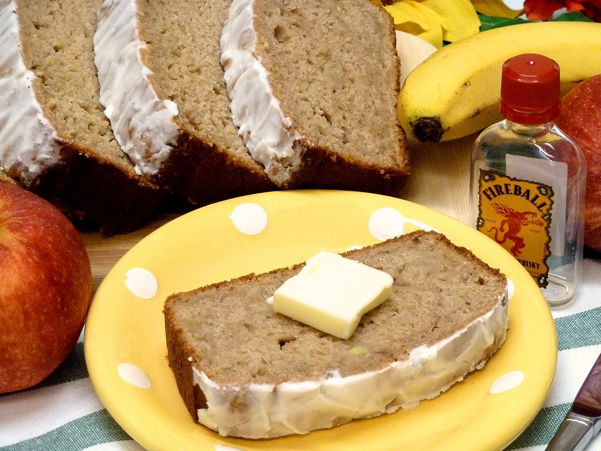 Kick your banana apple bread up a notch with Fireball whiskey!