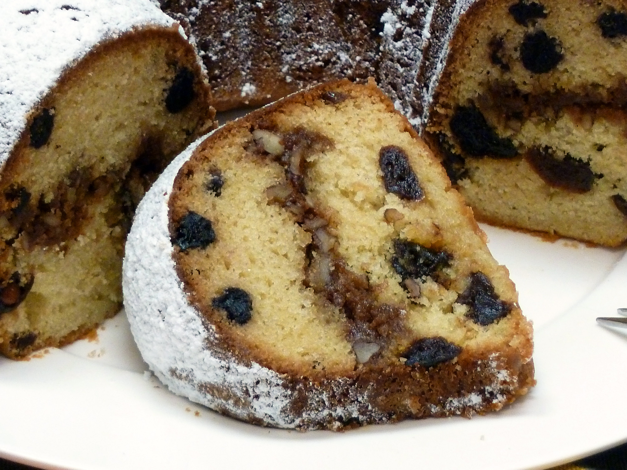 I had to post a close-up of a slice of this Cherry Blueberry Streusel Bundt Cake so you can drool on your keyboard.