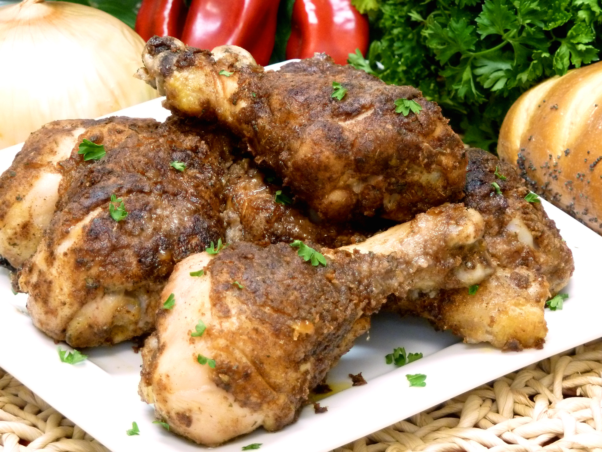 14 herbs and spices make spicy chicken legs better than KFC.