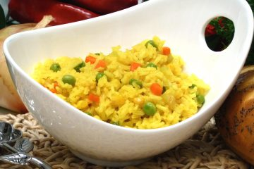 Veggie Yellow Rice takes delicious advantage of the health benefits of turmeric.