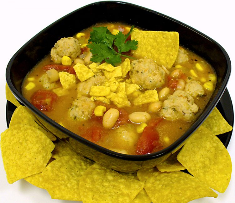Chicken meatball chili soup has Latin flavors to please kids and adults alike.