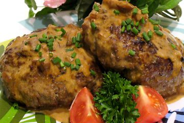 Hamburgers Diane is an inexpensive version of the popular gourmet dish, Steak Diane.