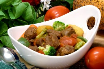 Hearty Pork Stew is loaded with chunks of meat and vegetables.