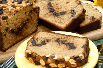 Fast and yummy quick bread is loaded with peanut butter, peanuts, and chocolate.