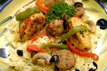 Chicken, Sausage, and Black Olives, plus the elusive hint of licorice-flavored tarragon make a special, yet easy entree with rice.