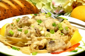 Scampi-Style Chicken uses chicken instead of shrimp for a delicious mash-up of shrimp scampi.