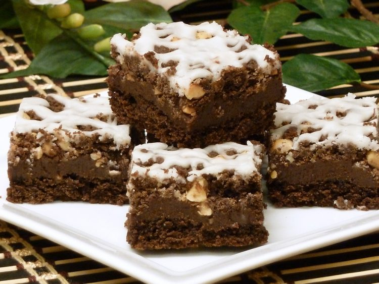 Nutty Chocolate Dream Bars are 3 layers of chocolate goodness in an easy brownie.