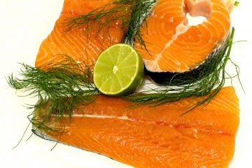 Different cuts of raw salmon. Proper salmon storage and worms in salmon are concerns.