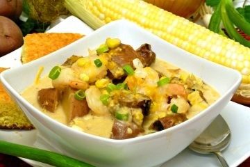 Hearty Low Country Corn Chowder is loaded with shrimp, sausage, potatoes, and corn for a meal in a bowl.