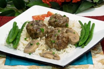 Flavorful sausage meatballs in an incredibly rich mushroom gravy are perfect over rice, pasta, or couscous.