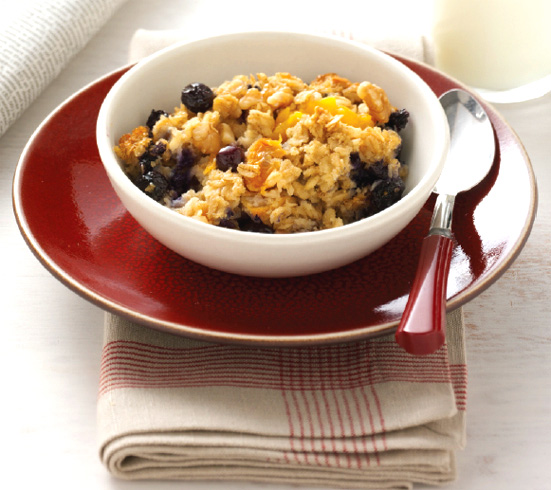 Invoke memories of your youth with baked blueberry peach oatmeal, a great family breakfast.