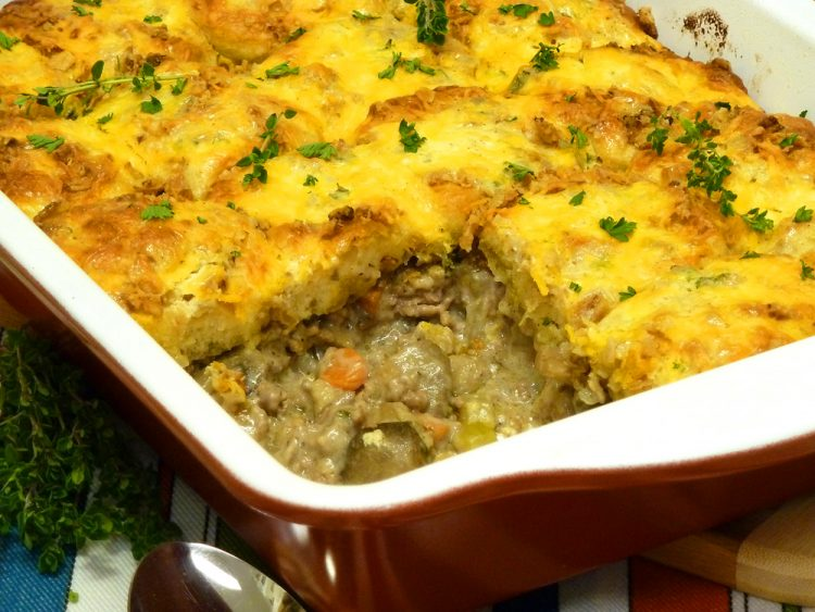 Biscuit stroganoff casserole is budget-friendly and enough to feed a crowd.
