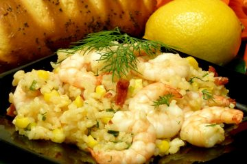 Easy, colorful shrimp corn pilaf is hearty enough for a meal in a bowl.