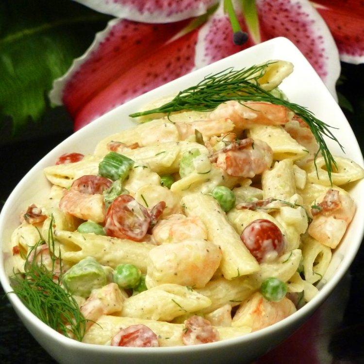 Shrimp garden pasta salad is colorful and loaded with veggies.