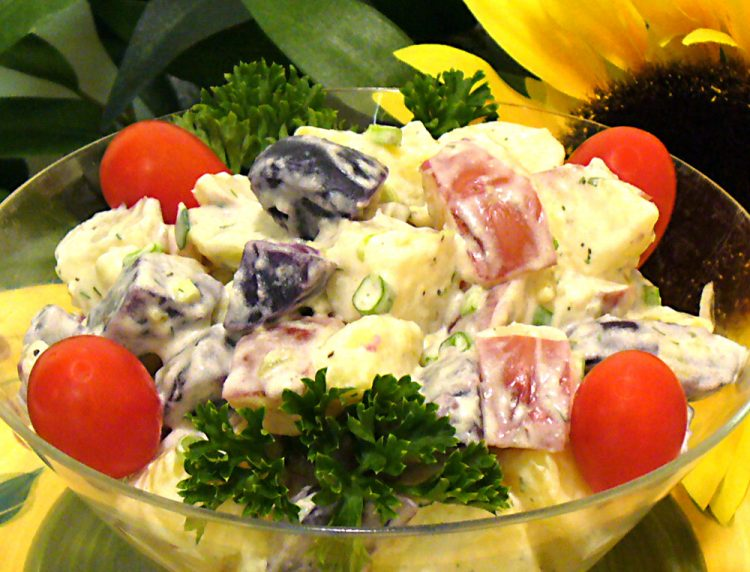 Colorful Red White and Blue potato Salad is the perfect side dish for the Fourth of July or any day.